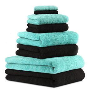 Betz 8er Handtuch-Set DELUXE, 2 Badetücher 2 Duschtücher 2 Handtücher 2 Seiftücher, Farbe türkis und schwarz