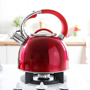 Wasserkessel 2,5L Flötenkessel Teekessel Wasserkocher Induktion Rot