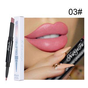 Double Head Waterproof Long Lasting Pencil Lipstick Pen Matte Lip Liner Makeup
