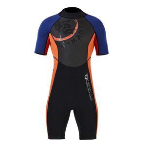 Männer Kurzarm Neoprenanzug Jacke Tauchen Overall Surfen Tauchen Badebekleidung L Schwarz + Orange