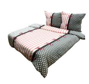 Bettwäsche 200x200 + 2x 80x80 cm Thermofleece rosa weiß gestreift Schleifen flauschig, 3-teilig
