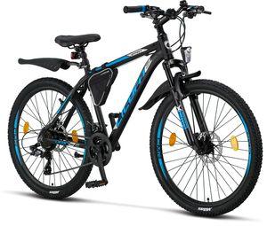 Licorne Bike Effect Premium Mountainbike - Fahrrad für Jungen, Mädchen, Herren und Damen - Shimano 21 Gang-Schaltung - Herrenrad, Farbe:Schwarz/Blau (2xDisc-Bremse), Zoll:26.00