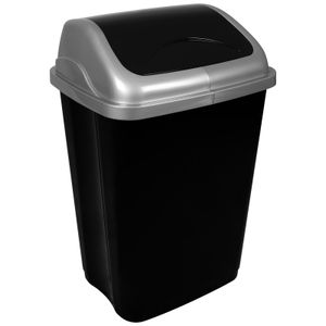 Abfalleimer mit Schwingdeckel 50L Mülleimer Kunststoff Abfallbehälter mit Deckel Müllsammler Abfalltonne Mülltonne