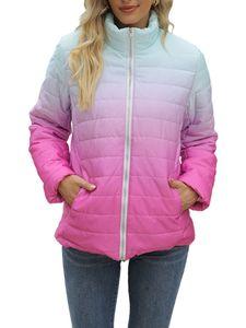 Damentasche mit Farbverlauf Wintermantel mit durchgehendem Reißverschluss und Stehkragen,Farbe: Rosenrot,Größe:XL