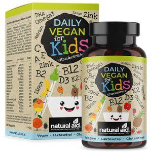 Daily Vegan for Kids - Vitamine & mehr mit B12 D3 K2 Omega3 B2 B6 A C E Calcium Magnesium Eisen Zink