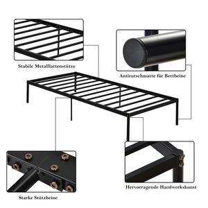 Gästebett 90x200 cm, Metallbett aus stabilem Metall – 90 x 200 cm Bettgestell inkl Lattenrost Gästebett Bett