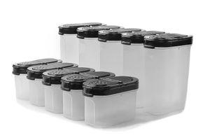 TUPPERWARE Gewürz-Riese 270 ml (5) schwarz + Zwerge 120 ml (5) schwarz Gewürz Behälter + SPÜLTUCH