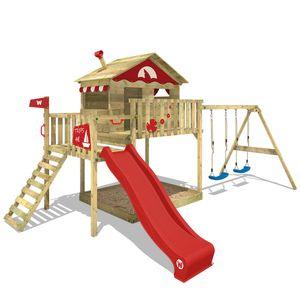 WICKEY Spielturm Klettergerüst Smart Coast mit Schaukel & roter Rutsche, Stelzenhaus mit Sandkasten, Kletterleiter & Spiel-Zubehör