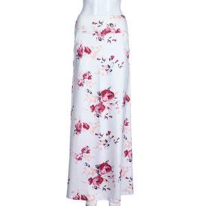 Frauen Strand Blumendruck Niedrige Taille Langer Maxirock mit Taschen , XL