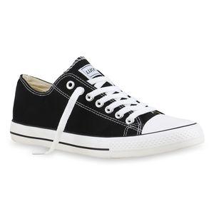 Mytrendshoe Herren Sneakers Kult Sportschuhe Schnürer Stoffschuhe 892086, Farbe: Schwarz Lucky, Größe: 40