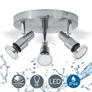 LED Deckenleuchte 3-flammig Badezimmer-Leuchte Deckenstrahler inkl. 5W Leuchtmittel 400 Lumen IP44 B.K.Licht