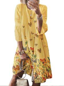 Damen Kleid mit Neun-Viertel-Ärmeln und Retro-Print und großem O-Ausschnitt,Farbe: Gelb,Größe:S