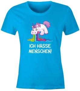 Damen T-Shirt Spruch Ich hasse Menschen kotzendes Einhorn Frauen Fun-Shirt lustig Moonworks® türkis L