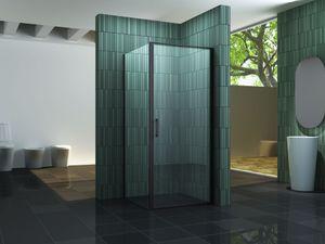 Duschkabine SCATOLA (schwarz) 100 x 100 x 195 cm ohne Duschtasse
