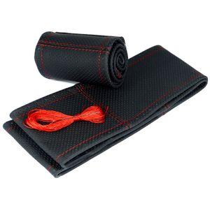Lenkradbezug perforiert rote Naht Lenkradhülle Naht Echtleder für Lenkraddurchmesser 38cm-39cm
