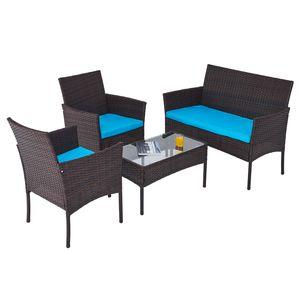 Crenex 4-tlg Lounge Set mit Sofa Sessel Tisch Gartenmöbel Set Rattanmöbel Sitzgruppe Ratten Sitzplätze