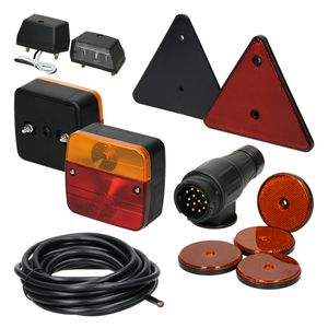 ECD Germany Anhängerbeleuchtung Set 12-teilig - 13-poliger Stecker - 5m Kabel - inkl. Leuchtmittel - mit E-Prüfzeichen - Rückleuchten Set für PKW Anhänger Beleuchtungsset Rücklicht Leuchten