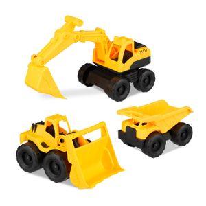 relaxdays Spielzeug Baustellenfahrzeuge 3er Set