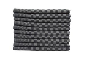 10er Set Luxus Grubentücher 50x70 cm 100% Baumwolle 210 g/m² Spühltuch Küchentücher Geschirrtücher 75g, Farbe:schwarz