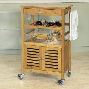 SoBuy® Servierwagen,Küchenwagen mit Korb und Flaschenablage,Bambus, FKW53-N