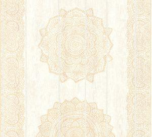 A.S. Création Vliestapete Boho Love Tapete metallic creme beige 10,05 m x 0,53 m 364622 36462-2