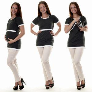 3in1 Umstandsshirt Stillshirt Kurzarm 26k Größe S/M (36/38) in Graphit