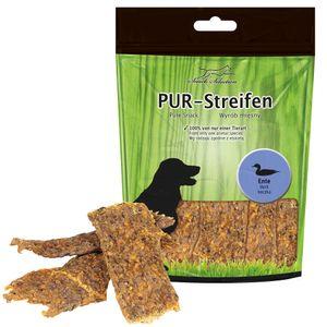 PUR Streifen Ente Kausnack für Hunde von einer Tierart 100% gluten- und getreidefrei Leckerlie weich teilbar