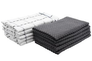10er Set Geschirrtücher, Baumwolle, ca. 45x60 cm, 5x uni grau, 5x weiß grau kariert