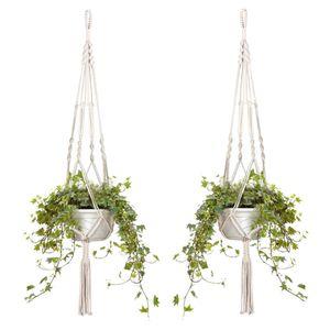 Blumenampeln ,2er Set Makramee Blumenampel Baumwollseil Hängeampel 105cm—HIKEREN