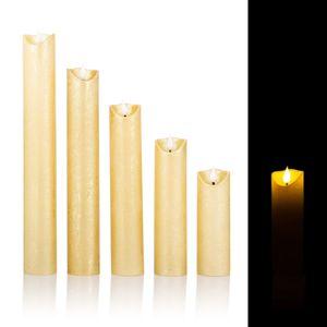 5 LED Kerzen mit Timerfunktion XXL im Set - Täuschend echte Flamme - Gold