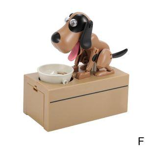 Braun + Schwarz (F) $ Geld gestohlen Hund Sparschwein kreative Karikatur essen elektrische gierigen Geizhals Hund essen Hund Spardose Sparschwein Finanz Hund