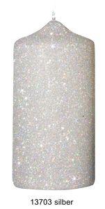 Glamour Glitter Stumpenkerzen silber, 120 x 60 mm, 4er Set
