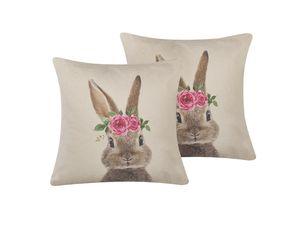Dekokissen Grau/Rosa 45 x 45 cm Baumwolle/Polyester 2er Set Hasenmotiv Gemütliche Optik Wohnzimmer Salon Schlafzimmer