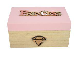 Holzkiste Princess Geschenkbox Mädchen Schatztruhe 14x8cm Schmuckdose Holzbox