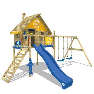 WICKEY Spielturm Klettergerüst Smart Sky mit Schaukel & blauer Rutsche, Stelzenhaus mit Kletterleiter & Spiel-Zubehör