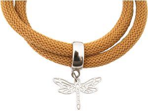 Damen Armband Wickelarmband 925 Silber Libelle Braun