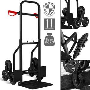 Masko® Treppenkarre Sackkarre 200kg Transportkarre Treppensteiger Stapelkarre, Farbe:Schwarz