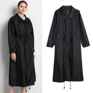 Frauen Wasserdichte & Winddicht mit Kapuze Regenmantel Parka Licht Mode Faltbare Lange Regen Einheitsgröße Mantel Schwarz XL