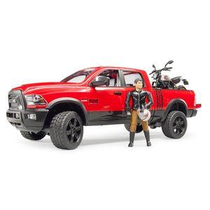 BRUDER 02502 RAM 2500 Power Wagon mit Scrambler Ducati Desert Sled und Fahrer