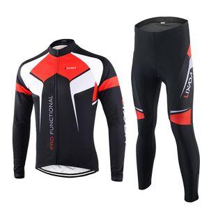 Lixada Fruehling Herbst Kleidung Set Sportswear Anzug Fahrrad Bike draussen Langarm Radtrikot + Hose atmungsaktiv Quick-Dry Men