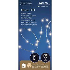 Lumineo Batterie LED Micro Lichterkette Strang 295 cm - 60 Lichter warmweiß