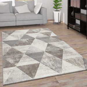 Teppich Wohnzimmer Kurzflor Rauten Muster Geometrisch 3D Modern Creme Beige, Grösse:200x290 cm