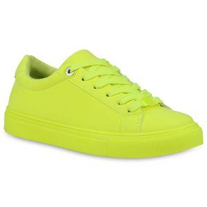 Mytrendshoe Damen Sneaker Low Freizeitschuhe Flats Schnürer 833535, Farbe: Neon Gelb, Größe: 38