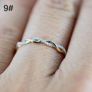 Diamantring Fingerring Ehering Elegant Einfach 14 Karat vergoldet gebogenes Design Geschenke Zubeh?r