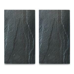 """Zeller Herdabdeck-/Schneideplatten """"Schiefer"""", 2-er Set, Glas, anthrazit 30x52 cm"""