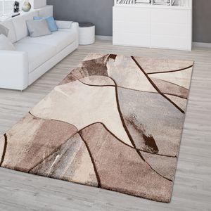 Wohnzimmer Teppich Kurzflor 3D Optik Geometrisches Design Modern Braun Beige, Größe:160x230 cm