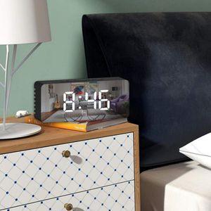 Spiegel Wecker-Digitaler Wecker, LED-Anzeige mit Dimmer-Modus zur Helligkeitsmessung, mit Snooze Funktion