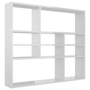 vidaXL Wandregal Hochglanz-Weiß 90 x 16 x 78 cm Spanplatte