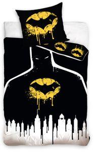 Batman Bettwäsche 135x200 cm Logo schwarz gelb Renforce Baumwolle Kinder Wende