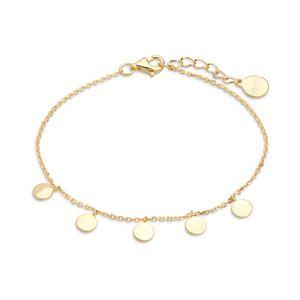 Xenox Damen Silber Sterling 925 Armband in Gold mit runde Plaettchen 15-18cm - Poppy Poems XS3691G